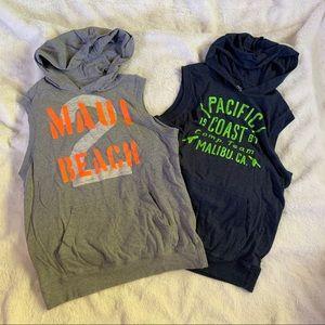 Boys size 14 hooded sleeveless shirts